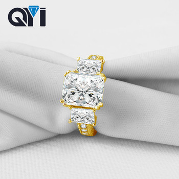 QYI Rectangle Cut 14K Solid Yellow Gold Luxurious Engagement Rings For Women Classic Three Stone Wedding Band
