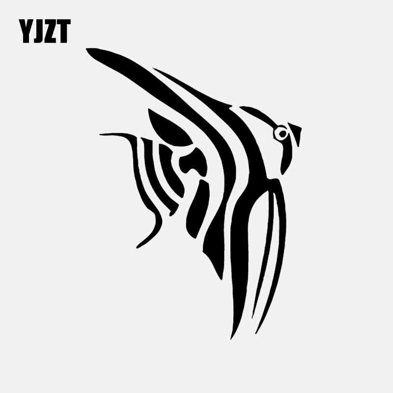 YJZT 12CM*16.1CM Angel Fish Design Decal Vinyl Car Sticker Animal Decor Black/Silver C24-0921