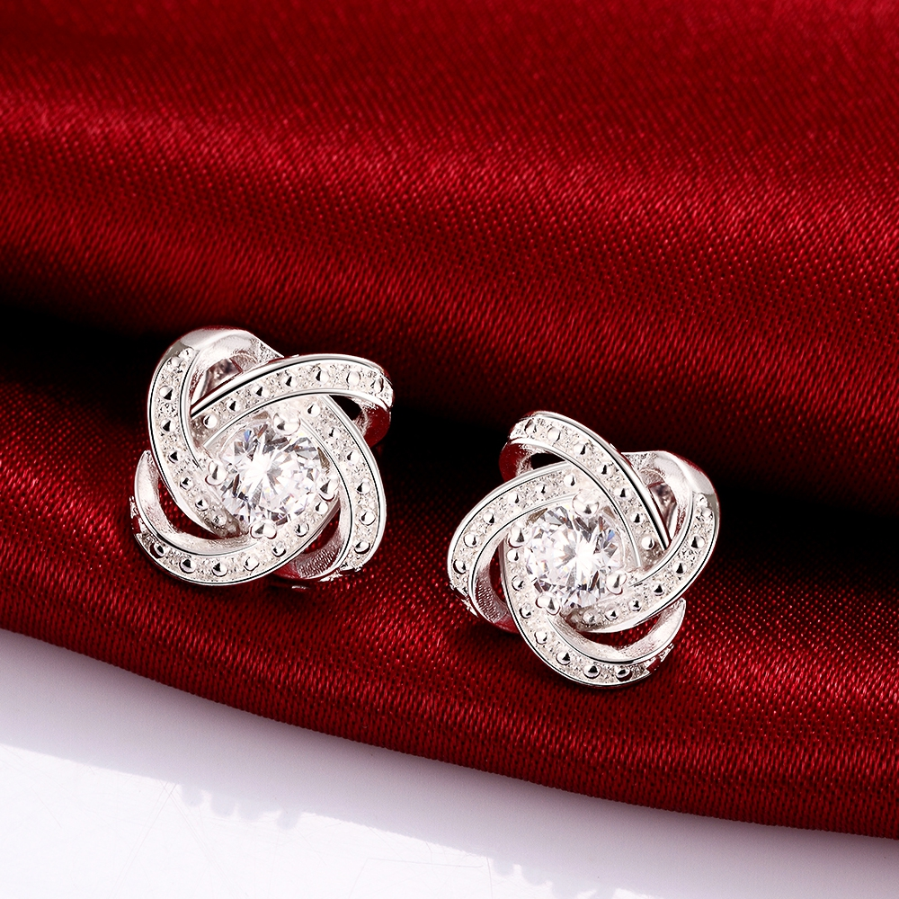 Korean Fashion Earrings Studs Silver With Round Zircon For Women Costume Jewelry Geometric Earring Brinco Vintage