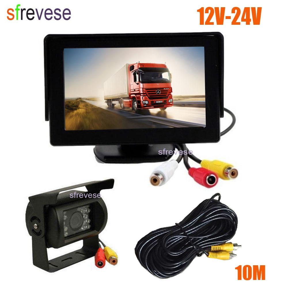 4 3inch Car LCD Monitor   Waterproof 18 LED IR Night Vision Reverse Parking Backup Camera Rear View Kit 10M cable 12V-24V