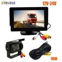 4.3 Car LCD Monitor + Waterproof 18 LED IR Night Vision Reverse Parking Backup Camera Rear View Kit 10M cable 12V 24V