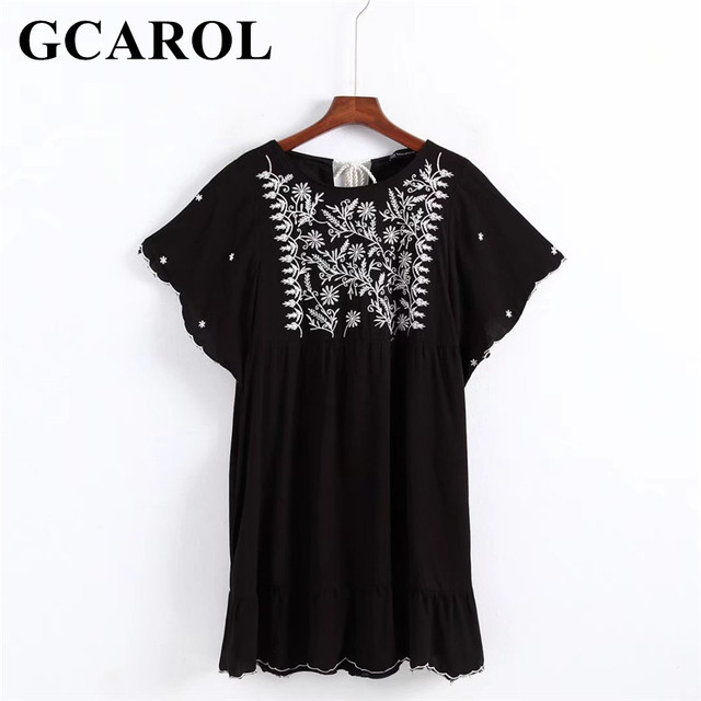 GCAROL 2018 New Arrival Women Embroidered Floral Jumpsuits Baby-doll Playsuits Batwing Sleeve Vintage Casual Summer Pullover