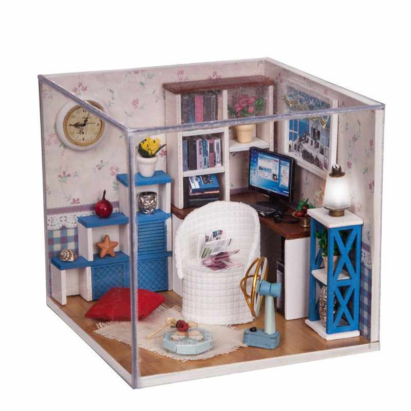 ZWX014 DIY Children's Doll Houses Mini Color Small Study Small House Model Assemblys 3D Miniaturas Doll Houses Educationals Toys