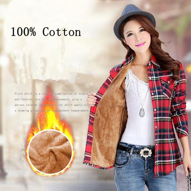 100% Cotton Women Thick Winter Plaid Shirt 2017  Long Sleeve Ladies Shirts Casual Top Korean Blouses Plus Size Blusas Clothing