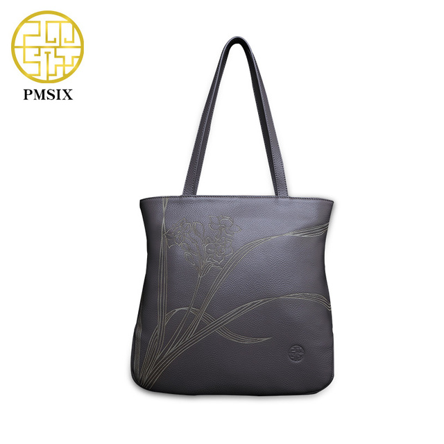 Pmsix 2017 Carving Summer Genuine Leather Bag Fashion Cowhide Leather Chic Women Shoulder Bag Female Brand Handbag 210002