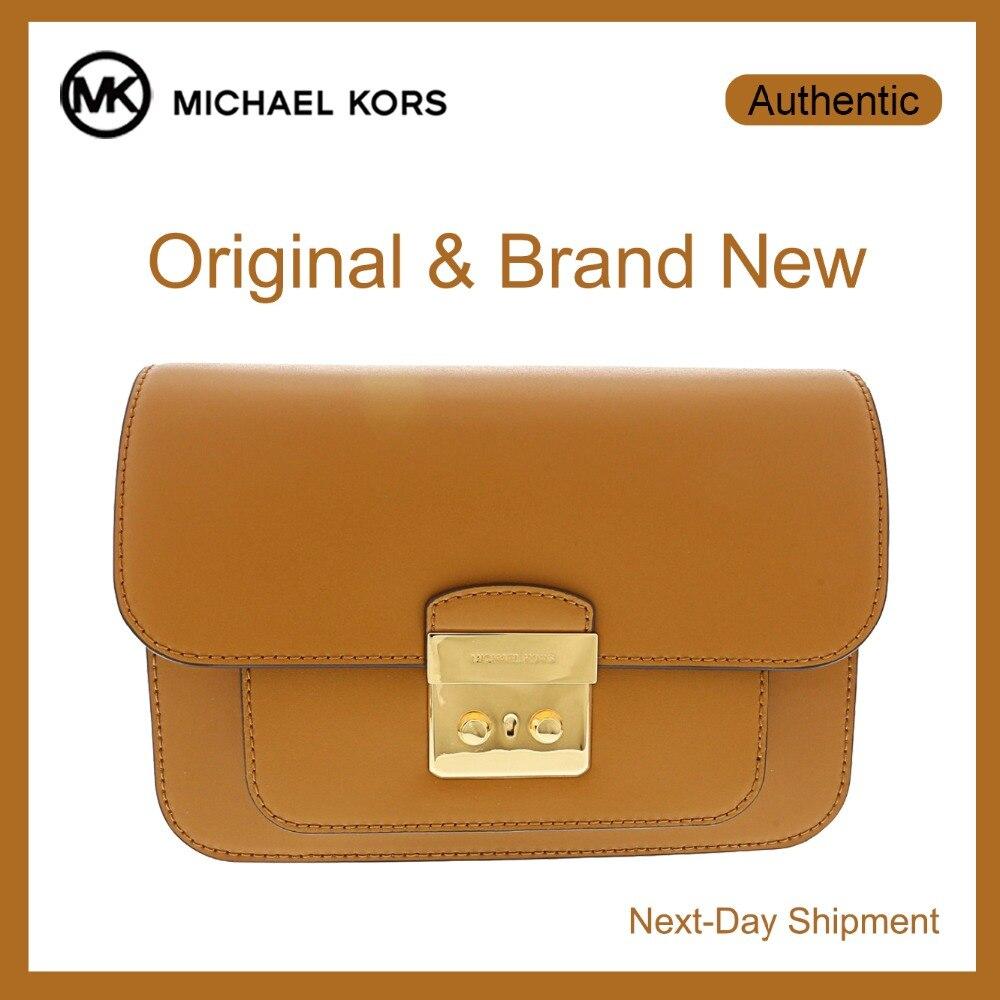 c3da826b584 Michael Kors Sloan Editor Lederen Schoudertas (Acorn/Goud) Luxe Handtassen  Voor Vrouwen Tassen