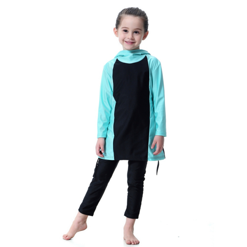 871dd4b6e0e 80cm-160cm Muslim Girl Swimwear Muslims Set Junior Girls Swimsuit Islamic  Clothing For Children Kids