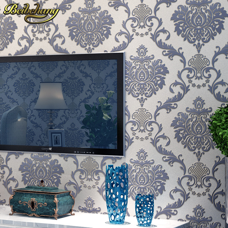 beibehang Shangdi 3D European non-woven wallpaper Damascus living room bedroom TV background wall paper days silk papel parede