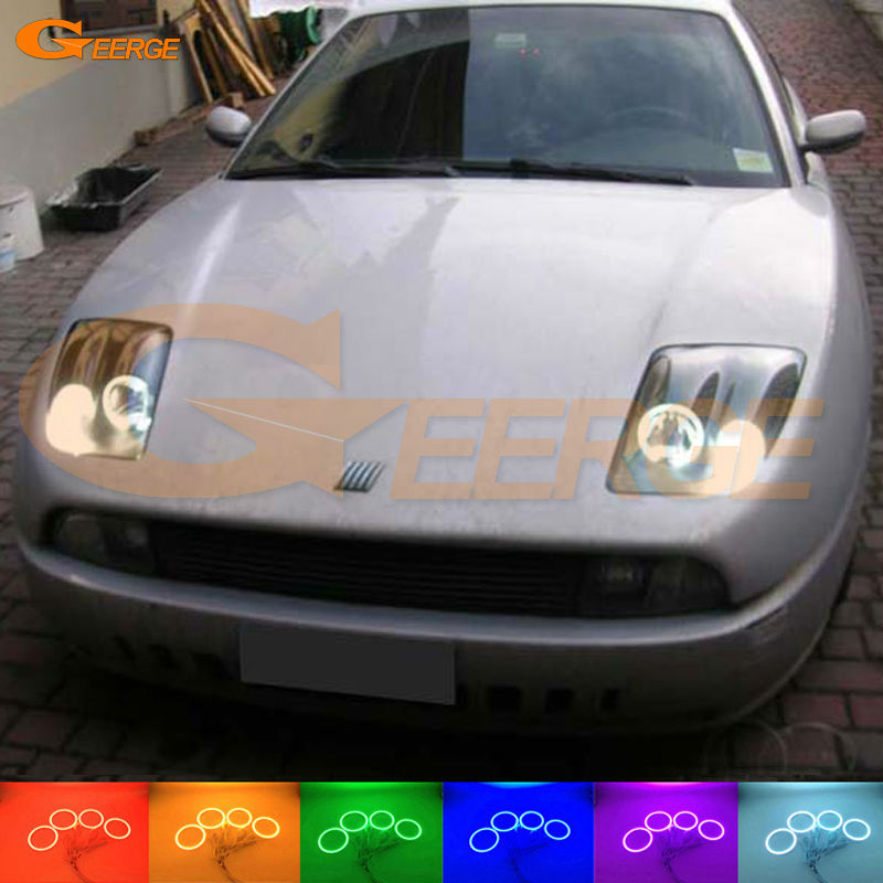 For Fiat Coupe 1993 1994 1995 1996 1997 1998 1999 2000 Excellent Multi-Color Ultra bright RGB LED Angel Eyes kit Halo Rings for nissan laurel club s c35 1997 1998 1999 2000 2001 2002 excellent multi color ultra bright rgb led angel eyes kit halo rings
