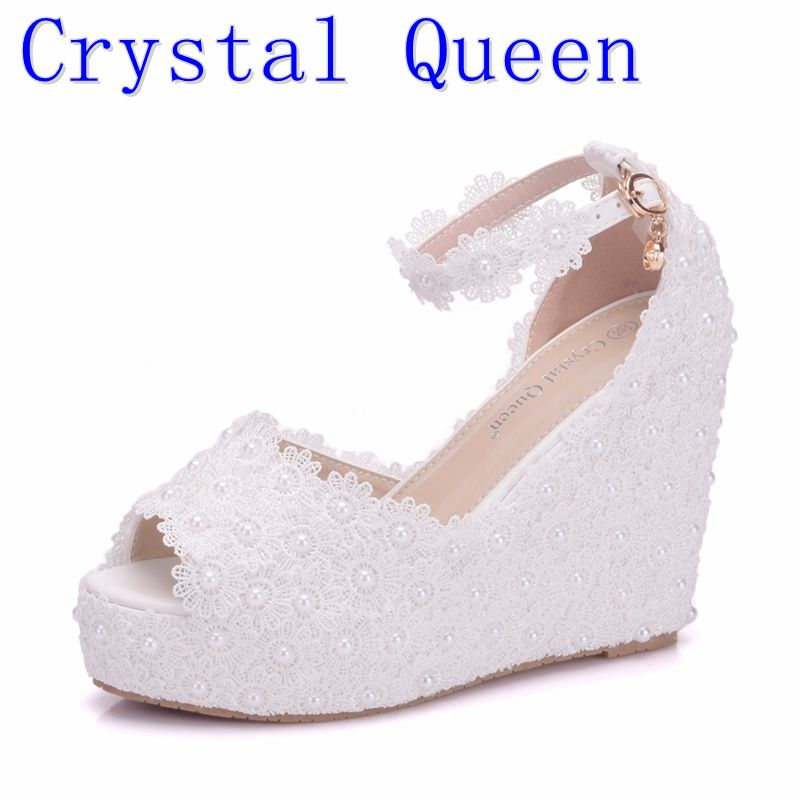 Crystal Queen White Wedges Wedding Pumps Sweet White Flower Lace ...