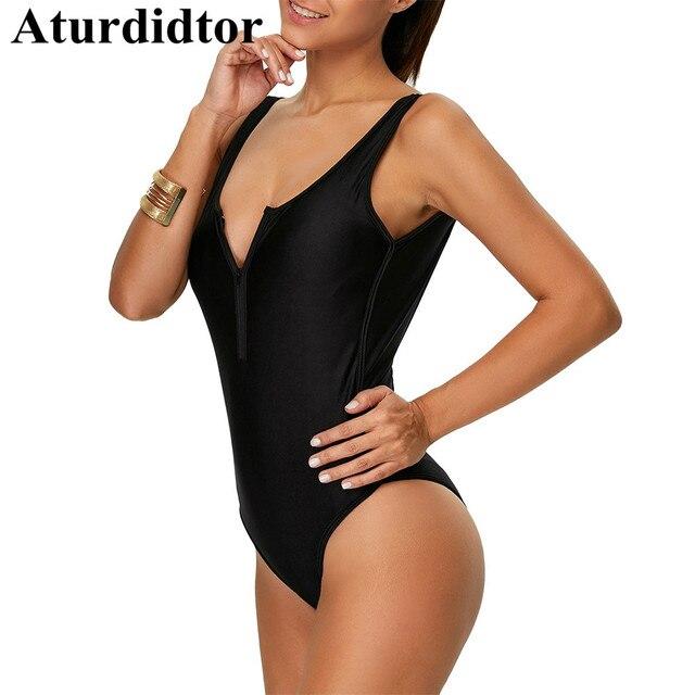 1d71b2e72b621 Zipper Front High Cut Plunging Plung Backless Swimwear One Piece Sexy Black 1  Piece Swimsuit Women Swim Bathing Suit 2018