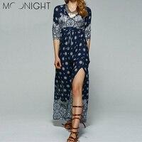 MOONIGHT Floral Print Half Sleeve Chiffon Long Dress Women Maxi Dresses Sexy Blue Split Beach Summer Dress