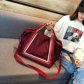 df3b2f7325eb Красные непромокаемые Оксфордские женские дорожные сумки на ночь женские  багажные сумки портативные мужские дорожные сумки большие дорож.