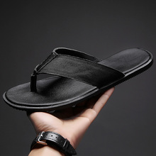 NINYOO Comfortable Summer Flip Flops Soft Men Shoes Genuine Leather Casual Slippers Black Sandals Bathing Swimming Beach Shoes44