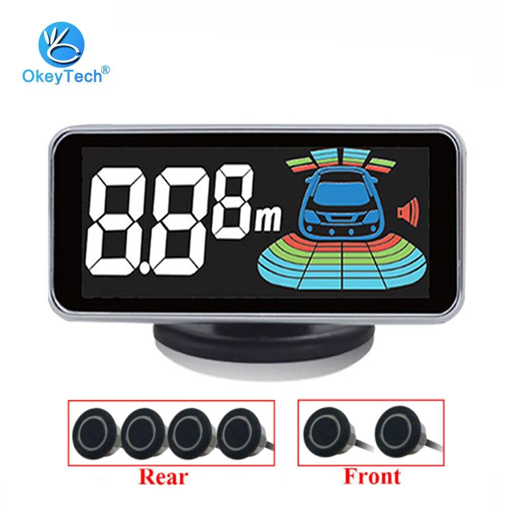OkeyTech 6 capteurs voiture LCD Kit de capteur de stationnement affichage pour toutes les voitures aide au stationnement système d'alarme détecteur de Radar de recul
