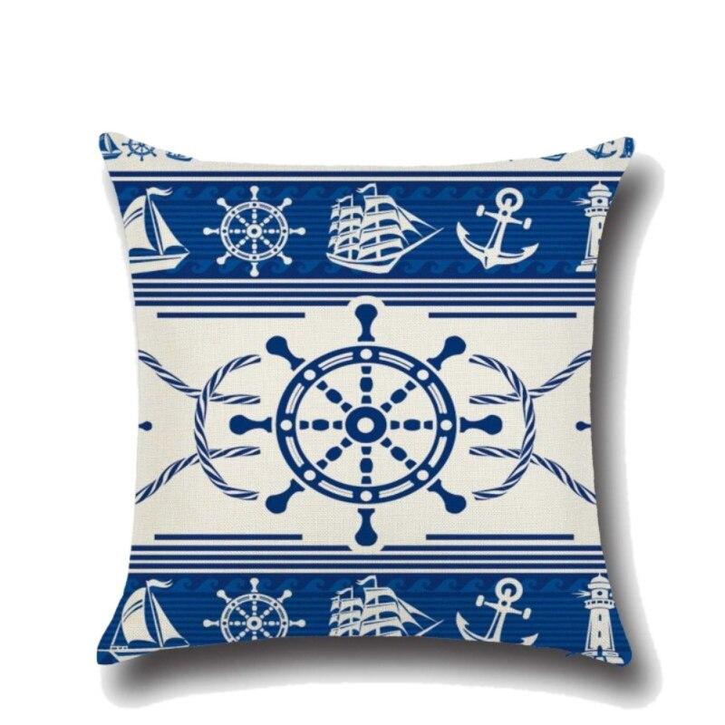 Anchor Boat Sea Series Navigation Cotton Linen Throw Pillow Cushion Cover Home Decoration Sofa Bed Decor Pillowcase 45x45cm