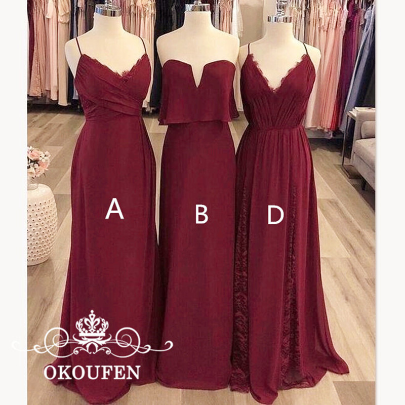 OKOUFEN Sexy Sweetheart Neck Long   Bridesmaid     Dresses   2018 Burgundy Chiffon Sleeveless A Line Maid Of Honor   Dress   Party For Women