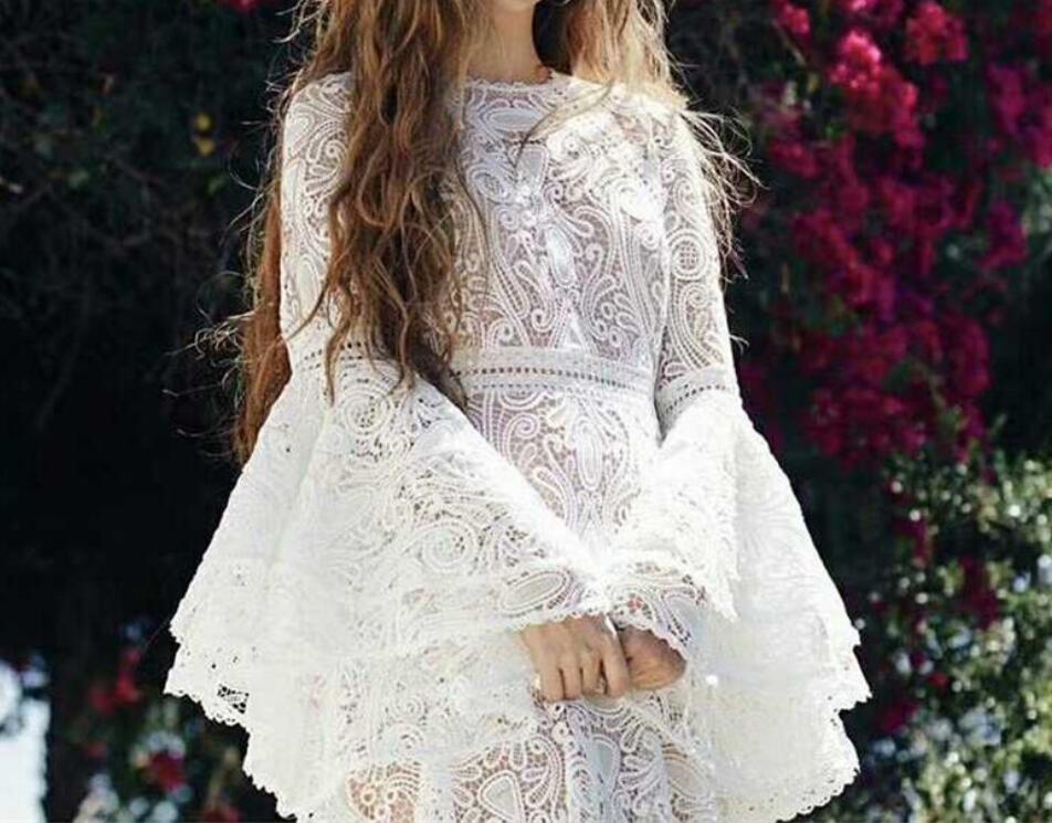 Осенне зимнее Модное Новое Белое платье женские вечерние кружевные платья с расклешенными рукавами Лидер продаж - 5