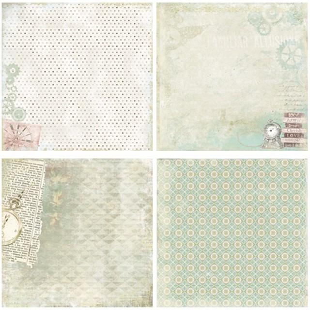Vintage Decorative Scrapbooking Paper 24 pcs Set