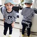 2 pcs Criança Crianças Bebê Menino T-shirt Tops de Manga Longa Listrada Âncora + Calças Compridas Calças Outfits Vestuário Set