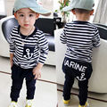 2pcs Toddler Kids Baby Boy T-shirt Tops Long Sleeve Striped Anchor + Long Pants Trousers Outfits Clothing Set