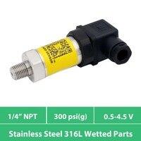Sensor de presión  diafragma AISI 316L  1 4 en rosca npt  aire y agua y aceite  medidor de 0 a 300 psi  salida de 0 5 a 4 5 V  suministro de 5VDC