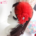 Wedding Hats Two Color White/Red Feather and crystal forehead Hair Accessories Women Elegant Special Event Accessories   Z809
