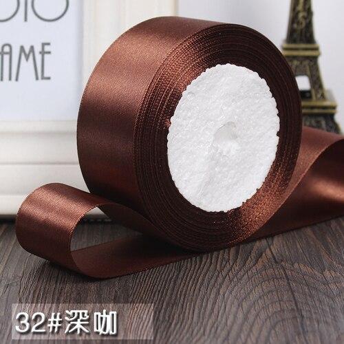 25 ярдов/рулон 6 мм, 10 мм, 15 мм, 20 мм, 25 мм, 40 мм, 50 мм, шелковые атласные ленты для рукоделия, швейная лента ручной работы, материалы для рукоделия, подарочная упаковка - Цвет: Deep coffee