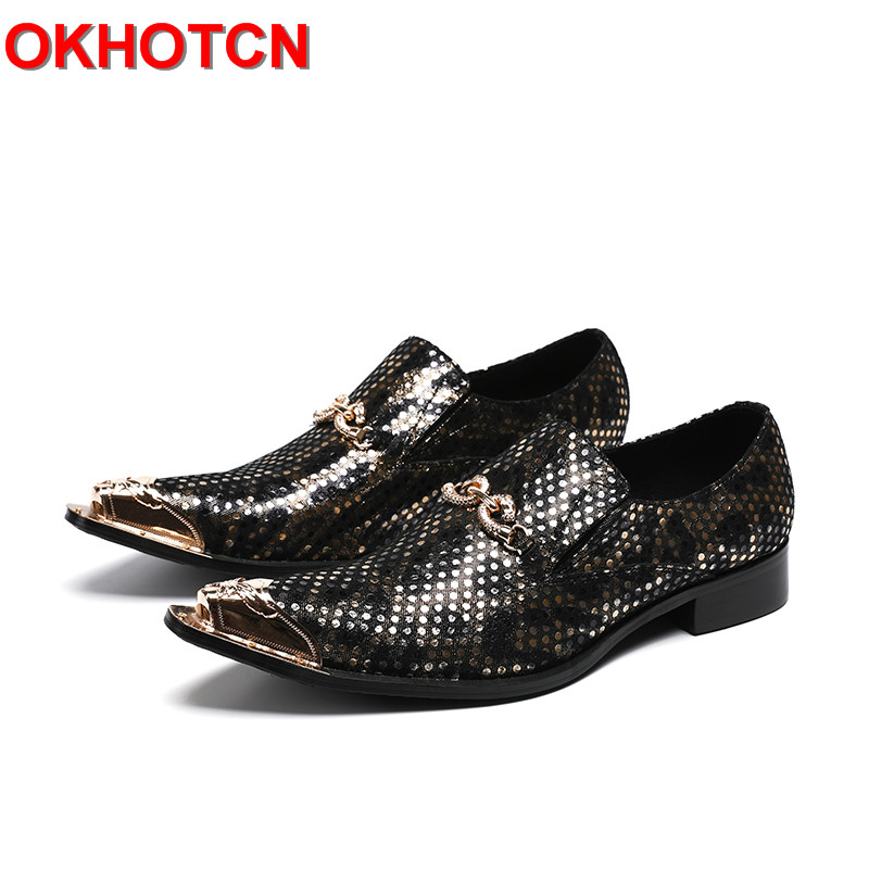 все цены на Black Pointed Toe Men Shoes Leather Gold Metal Hoop Fashion Man Shoes Polka Dot Print Zapatos De Hombre Para Vestir Plus Size 47