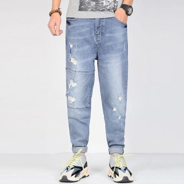 Ripped Jeans Men Plus Size Stretchy Men's blue Jeans Decoration Joggers Casual Loose Tapered Streetwear
