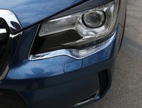 Para subaru forester 2019 abs chrome auto frente cabeça luz da lâmpada capa guarnição farol sobrancelha tiras acessórios 2pcs carro