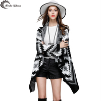 Moda Jihan New Women Cardigans Long Cardigan Big Turn Down Collar Striped Sweaters Black Cotton Autumn