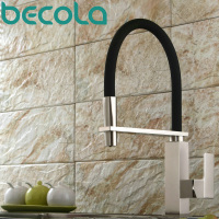 Becola New Design Brushed Nickel Kitchen Faucet Pull Out Down Kitchen Mixer 360 Swivel Brass Sink