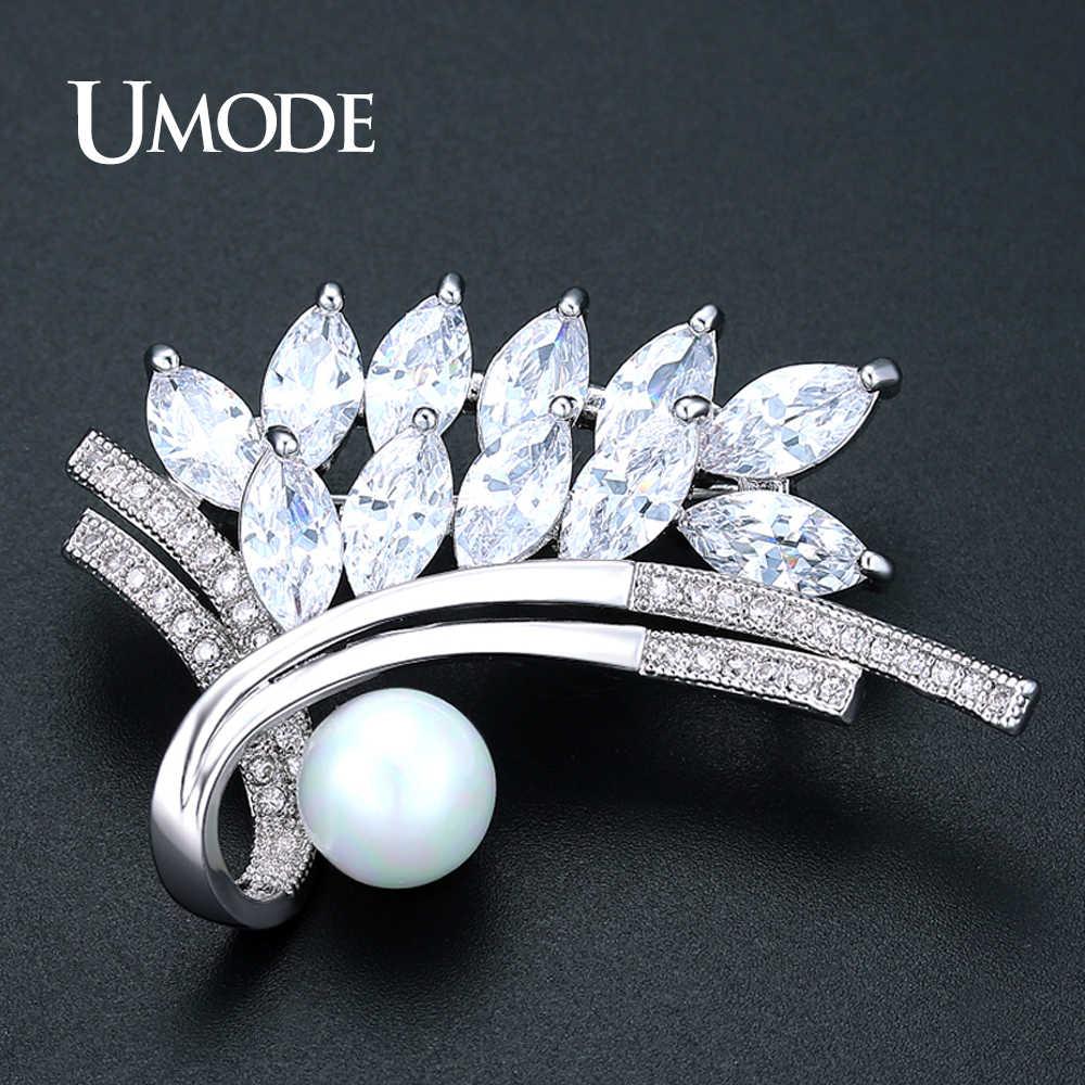 Umode Baru Fashion Berlian Imitasi Daun Pesona Mutiara Bros untuk Wanita Emas Putih Warna Besar Bros dan Pin untuk Gaun AUX0040