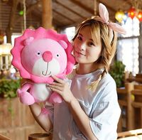about 40cm cartoon pink lion plush toy sunflower design cute lion soft doll Christmas gift s2500