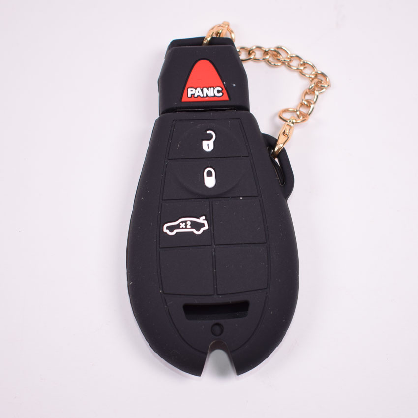 YAQUICKASilicone Car Remote Key FOB Cover Case Shell Bag For Dodge JCUV Jeep Grand Cherokee Chrysler Charger Challenger 4BTN Key