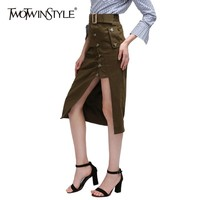 TWOTWINSTYLE Summer Army Green Women Skirts High Waist Lace Up Side Split Buttons Midi Skirt Female 2019 Korean Fashion Clothes