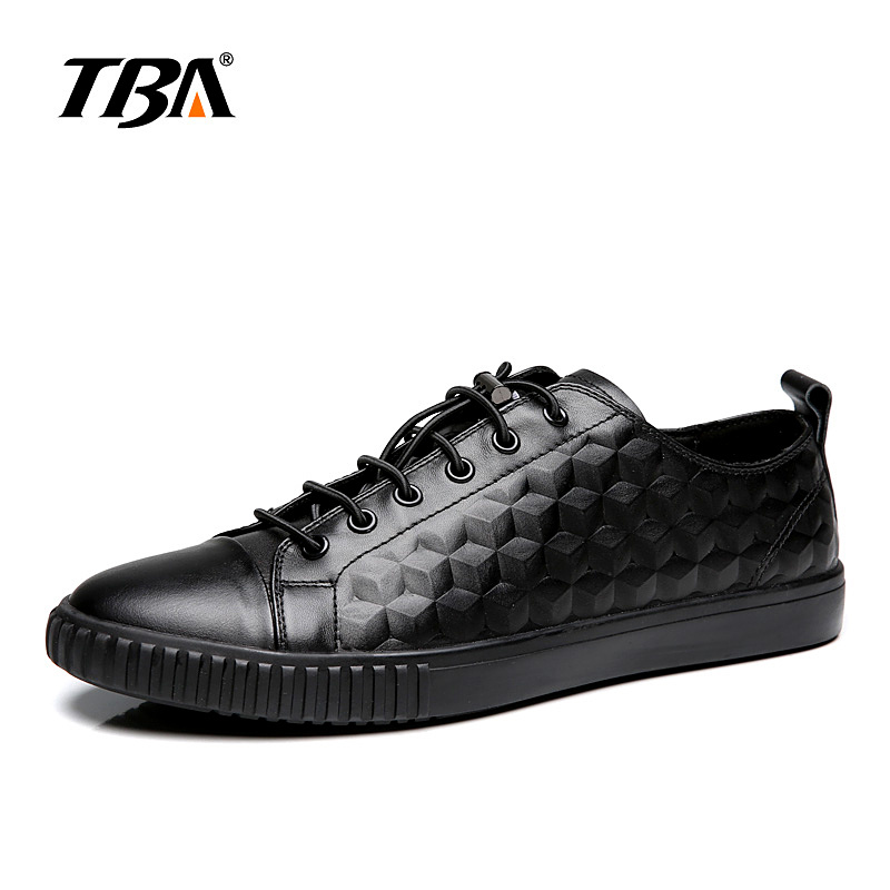 TBA Chinese Brand Men Real Cow Leather Casual Shoes Grid Design Fashion Shoes Size 38-44 EUR White/Black Colors TBA NO5841 casual waterproof boot silicone shoes cover w reflective tape for men black eur size 44 pair