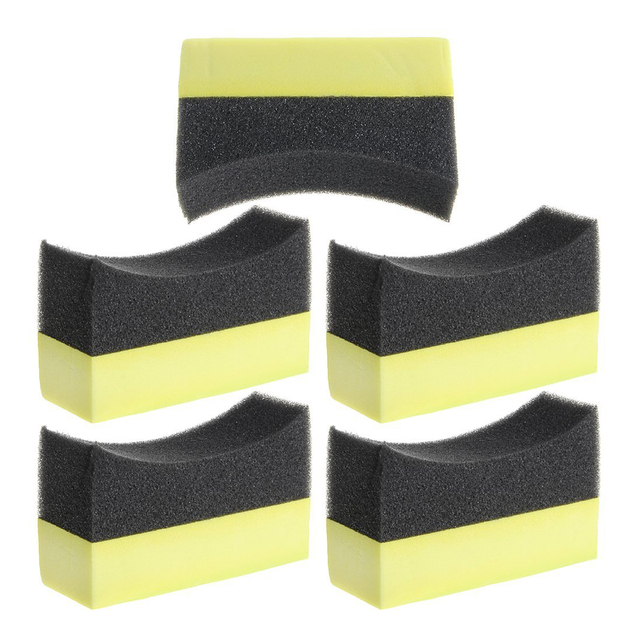 5x Professional Automotive Car Wheel Washer Tyre Tire Dressing Applicator Curved Foam Sponge Pad Black+yellow