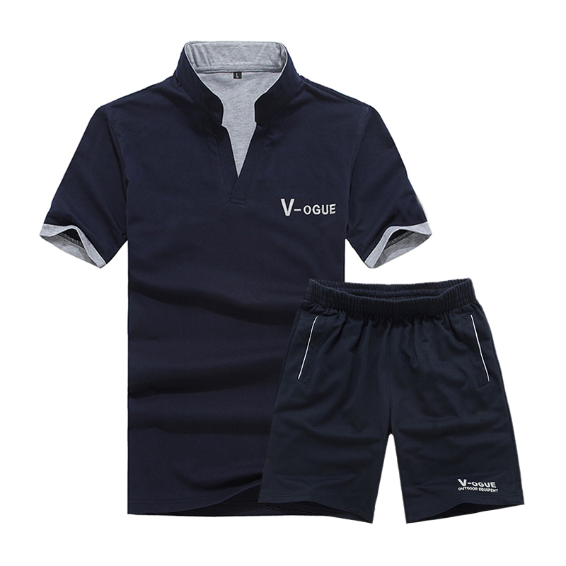 e859e5ec0e25 2018 Brand Casual Suit Men Summer Sets Active Tracksuits for Mens Stand  Collar s Vetement Homme Streetwar Tops Tees   Shorts Set-in Men s Sets from  Men s ...