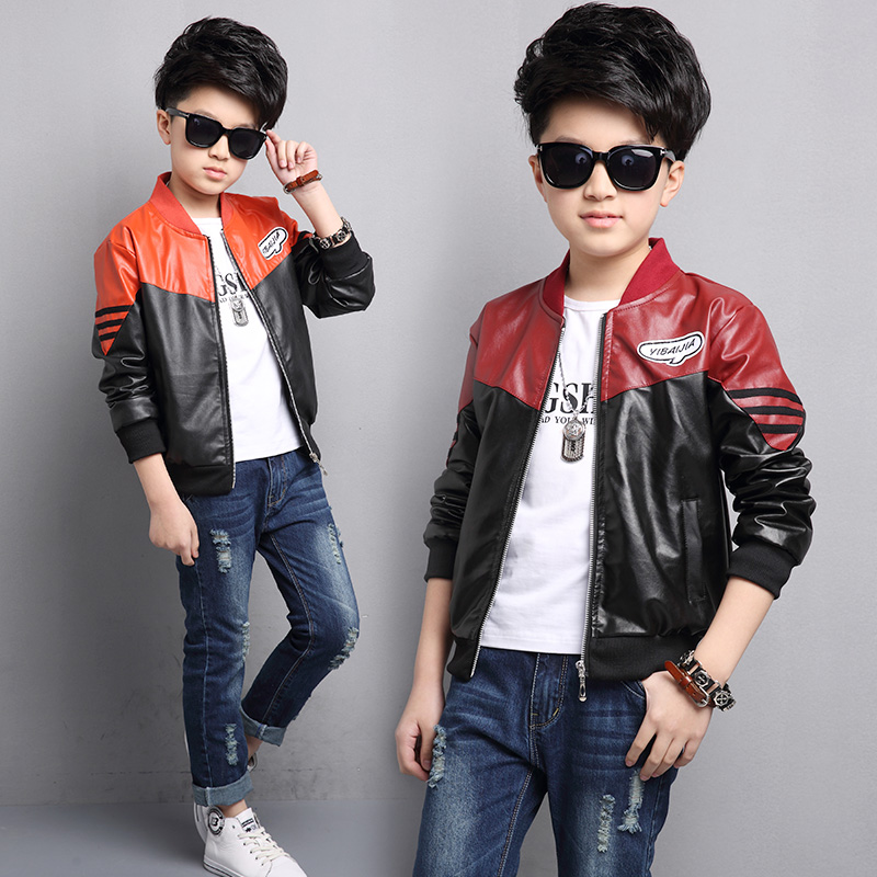 High Quality Jacket Boys PU Leather Jacket 2017 Spring Autumn New Children 2-14Y Clothing Kids Fashion Coat Outerwear high quality children sneakers 2016 spring