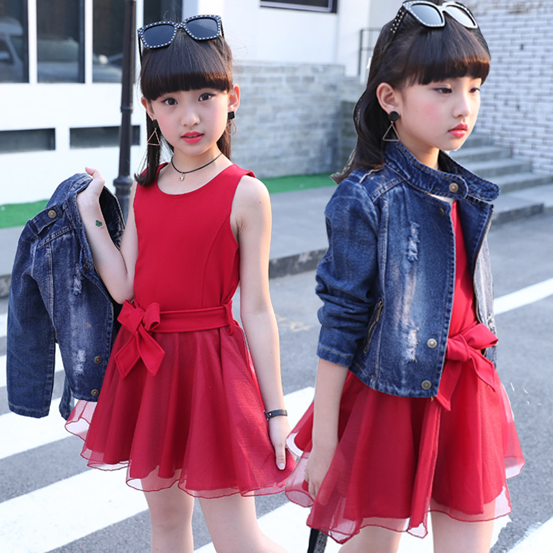 Autumn Girls Jacket and Dress Suit for 4 6 8 10 12 to 14 Years Kids Blue Jacket Black Sleeveless Dress Girl Clothing Sets 38M1 shirt dress big girl autumn suit autumn clothing girls clothing set 12 years 14 10 8 long sleeve dress mesh skirt 2 piece suit