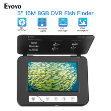 Eyoyo EF15R 5.0 pouces 15m 1000TVL détecteur de poisson sous marin caméra de pêche 4 pièces infrarouge + 2 pièces blanc Leds Fishfinder IP68 étanche