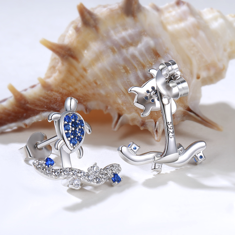 StrollGirl 925 Sterling Silver Summer Ocean Series lovely Sea Turtle Surfing Stud Earrings for Women Vacation Jewelry Gifts New