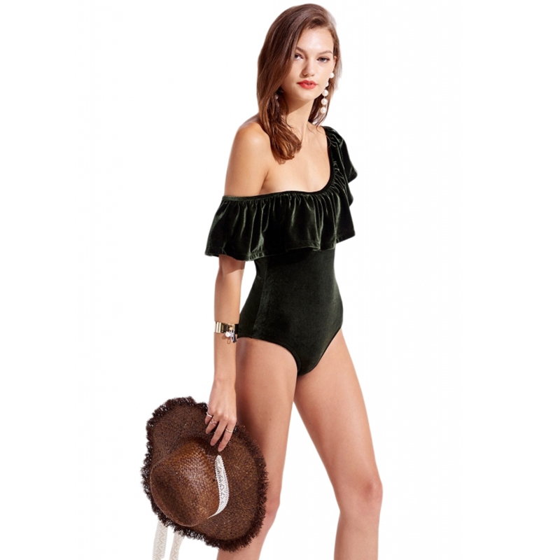 HDY Haoduoyi Fashion Women Bodysuits Dark Green Velvet Ruffle Off Shoulder  Bodycon Bodysuit Ladies Sexy Club Romper Jumpsuit-in Bodysuits from Women s  ... b6dc1f0ca