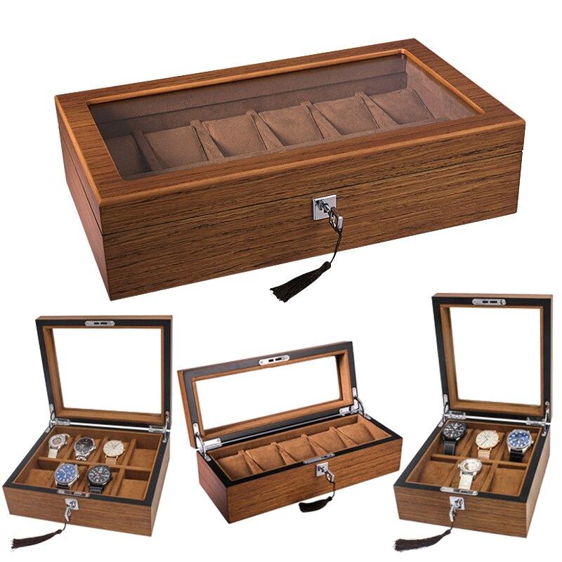Luxe 5,6, 8,10 fentes fait à la main bois montre boîte bois horloge boîte montre boîte de temps pour montre tenant