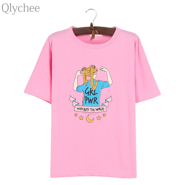 Qlychee Sailor Moon Girl Power Cartoon Letter T shirt Women Summer Casual  Preppy Style Tops Short