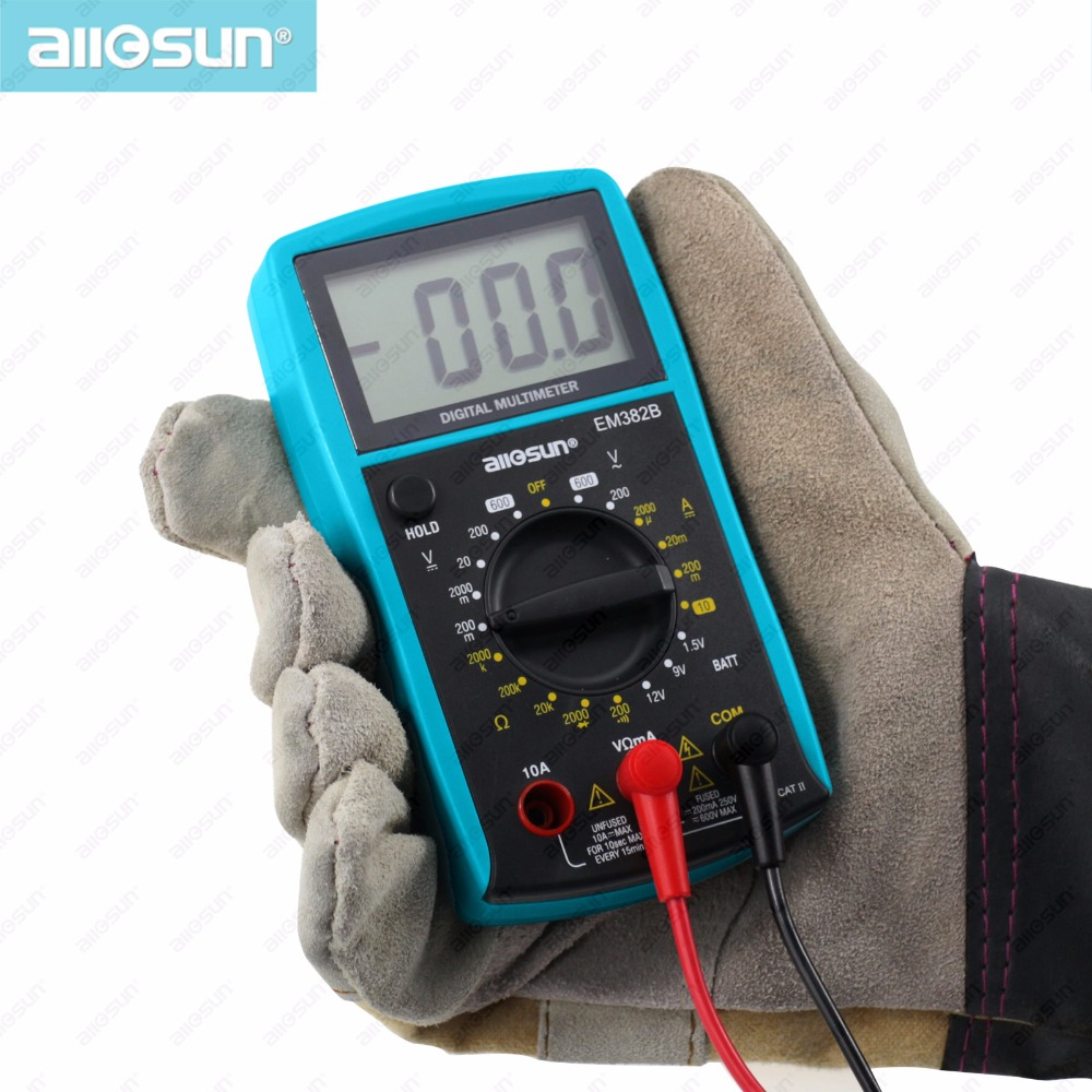 all-sun LCD Digital Multimeter DC/AC Voltmeter Continuity Battery Diode Tester EM382B ship from Russia warehouse