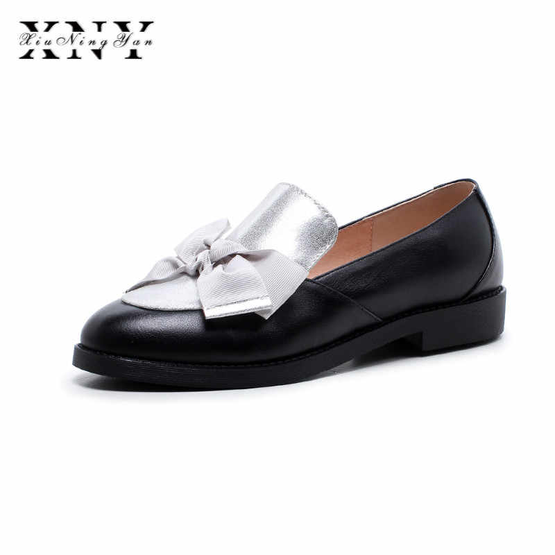 ac1c5c57760 XIUNINGYAN Spring Round Toe British Style Women s Shoes Vintage  Butterfly-knot Genuine Leather Women Loafers