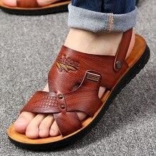 Летняя пляжная обувь; мужские сандалии; коллекция года; однотонные повседневные Нескользящие сандалии двойного назначения; Мужская обувь; мужские шлепанцы из искусственной кожи с ремешком на щиколотке; calzado hombre